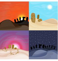 Beautiful desert landscapes set vector