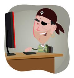 Cartoon pirate hacker vector