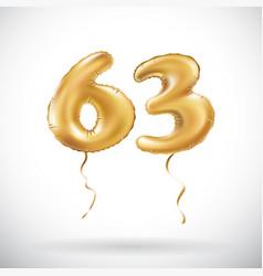 Golden number 63 sixty three metallic balloon vector