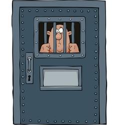 prison door with a prisoner vector image