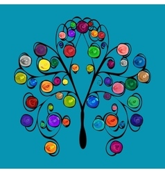 Abstract tree with patterned colored fruits vector