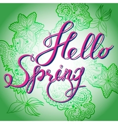 Hello spring green vector