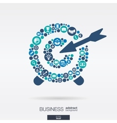 Flat icons in a target shape business marketing vector