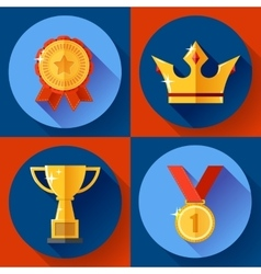 Icon set golden victory symbols champion cup vector
