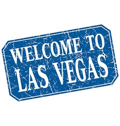 Welcome to las vegas blue square grunge stamp vector