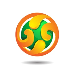 Abstract glossy burning sphere logo icon vector