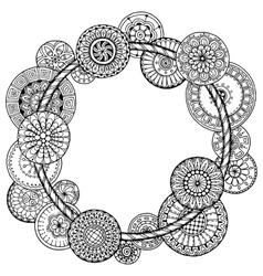 Mandala theme floral wreath pattern with dots vector