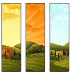 Set of tuscany landscape banners vector