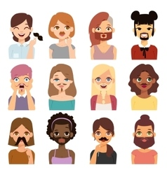 Bearded woman and mustache girl vector