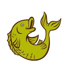 Cartoon fish jumping side vector