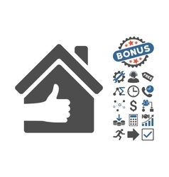 Excellent house flat icon with bonus vector