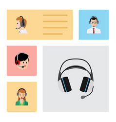 Flat icon telemarketing set of earphone operator vector