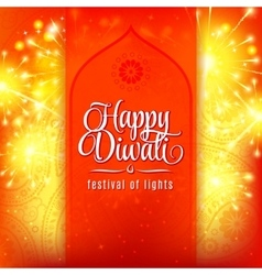 Happy diwali festival of lights fireworks on vector