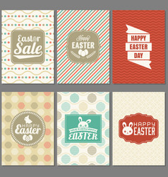 happy easter greeting card set with frame vector image vector image