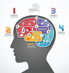 infographic Template brain social line link concep vector image vector image