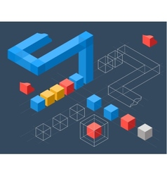 Infographics with flat colored cubes vector