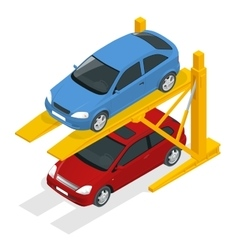 Isometric hydraulic lifts for the car in the vector