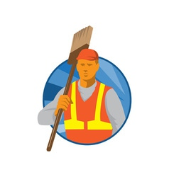 janitor cleaner sweeper with broom retro vector image vector image