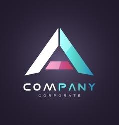Letter a pink blue logo icon design vector