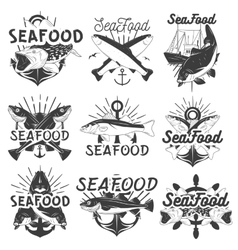 monochrome set of seafood emblems badges vector image