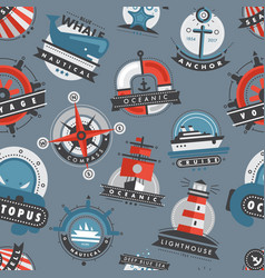 nautical templates marine sea logo badges anchor vector image