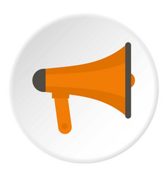 Orange loudspeaker icon circle vector