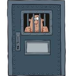 prison door with a prisoner vector image vector image