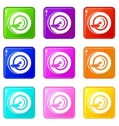Self balancing wheel icons 9 set vector