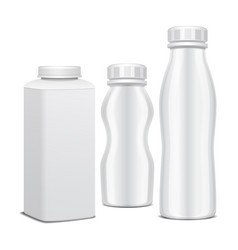 set of plastic bottle with screw cap for dairy vector image vector image