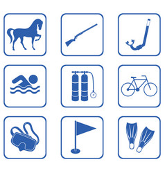 set of sport equipment icons vector image