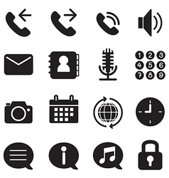 Silhouette mobile phone smartphone application ic vector image vector image