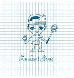 sketch Girl Badminton player vector image vector image