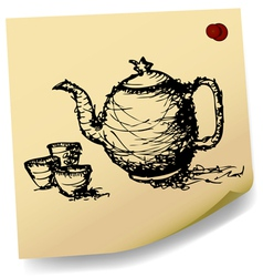 sketch teapot with cup on sticky paper vector image vector image