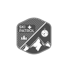 Ski patrol label vintage mountain winter sports vector