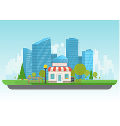 Store and big city vector