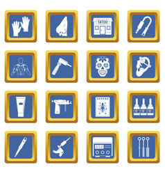 Tattoo parlor icons set blue vector