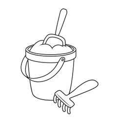 Toy bucket and spade vector image