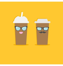 Two disposable coffee paper cups with sunglasses vector image