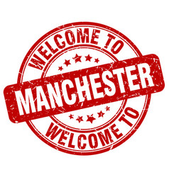 Welcome to manchester red round vintage stamp vector
