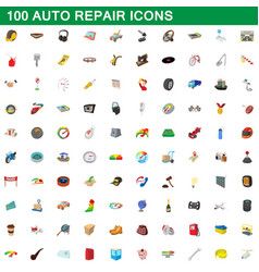 100 auto repair icons set cartoon style vector image