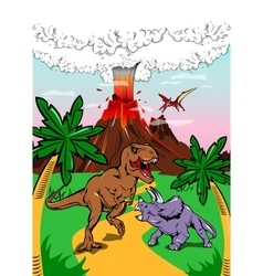 Dinosaurs in ancient nature poster vector