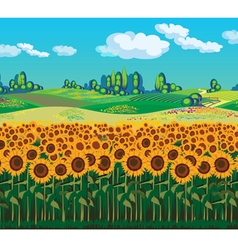 Scenic landscape with sunflowers vector