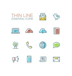Network and technology symbols - thick line design vector