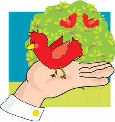 Bird in hand vector