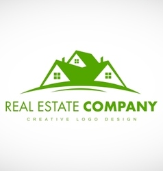 Green real estate house logo icon design vector