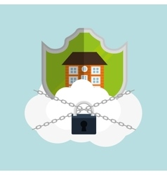 Home security cloud padlock chain vector