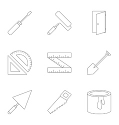 Repair icons set outline style vector
