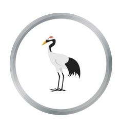 Red-crowned crane icon in cartoon style isolated vector
