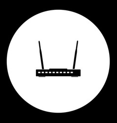 Wireless conputer network router simple black vector