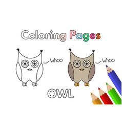 Cartoon owl coloring book vector